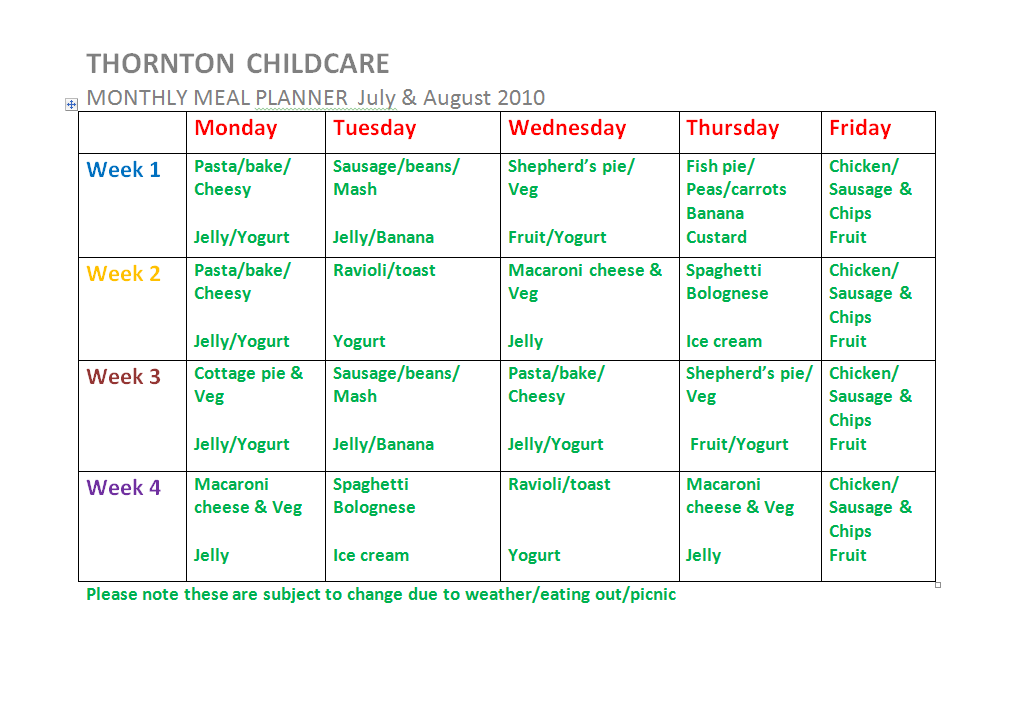 Meal Planner July & August 2010 | Thornton Childcare